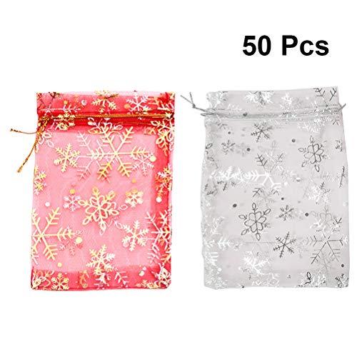 HEALIFTY 50pcs Christmas Party Taschen Schneeflocke Schmuck Beutel Kordelzug Geschenk Tasche Party Supplies für Hochzeit Verpackung Geburtstag