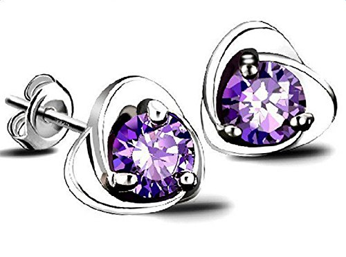 - 51pIg 2BI54cL - Hosaire 1 Pair Earrings Fashion Elegant Silver Purple Austria Crystal Stud Earrings for Women Fashion Jewelry Accessories