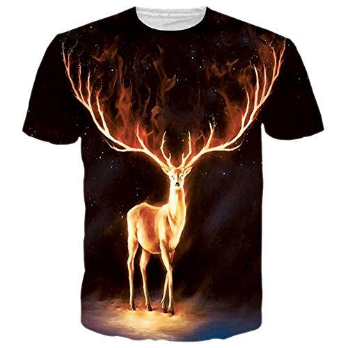 Bfustyle Unisex 3D Fire Elk Kurzarm T-Shirts T-Shirts drucken