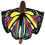 Zolimx Kostüm Damen Fasching Schmetterling Weicher Gewebe Flügel Schal, Nymphen Pixie Cosplay Kostüm Zusatz Umhang Mittelalter Kostüme Kleid (Mehrfarben-Q1)