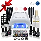 Kit Semipermanente Unghie Professionale Completo • Fornetto UV + Smalto Gel Unghie e 30 accessori : Remover, Base Coat, Top Coat • Edition Deluxe • Vegan & Cruelty Free Norme CE • MEANAIL PARIS