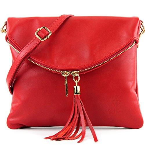 borsa di pelle ital. pochette pochette borsa tracolla Ragazze T139 piccola pelletteria T139A Rot