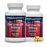 Olio di fegato di merluzzo 550 mg - Con Omega 3 per la salute cardiovascolare - 360 capsule - 6 mesi di trattamento - Simply Supplements