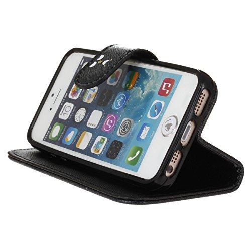 PU Cuir Coque Strass Case Etui Coque étui de portefeuille protection Coque Case Cas Cuir Swag Pour iPhone 5 / 5s / SE +Bouchons de poussière (4XI) 5