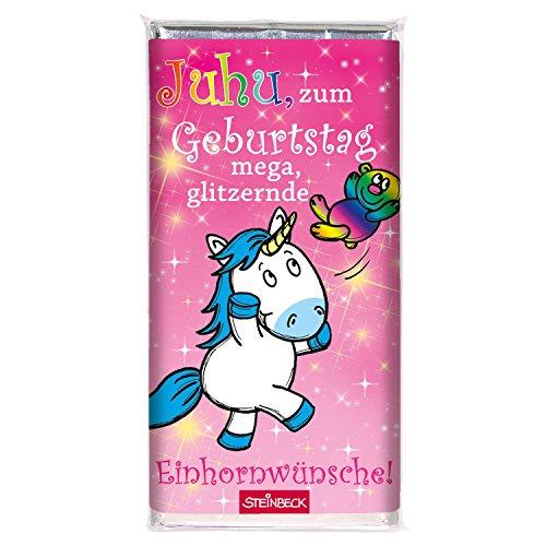 Schokolade EINHORN STEINBECK Vollmilch 100g Schokolade Tafel 'Zum Geburtstag mega glitzernde...
