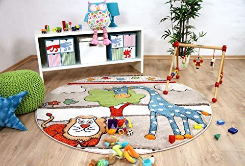 Savona Kinder Teppich Kids Lustige Zoowelt Beige Rund in 3 Größen -