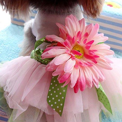 RFKMS Schöne Sonnenblume Kleid für Welpen Hundebekleidung Hundekleid Welpen Prinzessin Kostüm Hunde Katzen Spitze Rock ()