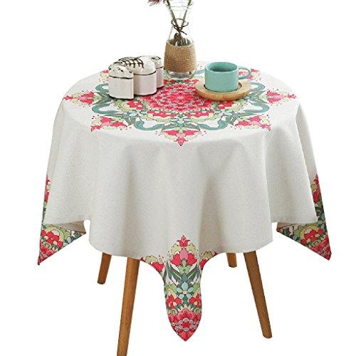 Nappe de fleur géométrique de nappe blanche classique nappe carrée de table basse ronde (Size : 140 * 140cm)