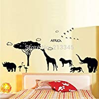 ZXFMT Safari Wall Sticker Kids Room Bedroom Cartoon Animals Decor Sticker Lion Elephant Giraffe Black