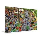 Premium Textil-Leinwand 120 cm x 80 cm quer, Bauernmarkt | Wandbild, Bild auf Keilrahmen, Fertigbild auf echter Leinwand, Leinwanddruck (CALVENDO Orte)