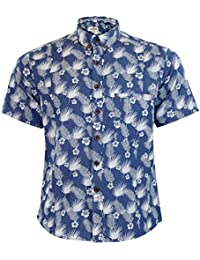 Nouveaux Hommes Jacksouth Marque Chambray Hawaiian Print Cotton Collar Casual Shirt