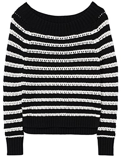 FIND Pullover a Righe Donna Nero (Black/white)