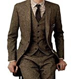 YSMO Herrenanzüge Slim 3 Stück Tweed Smoking Weste Hosen Jacke Anzüge Set Party Blazer