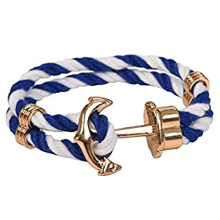 Rivertree Gold Classic Anchor White and Blue Sailor Nylon Braided Bracelet for Men
