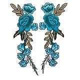 Confezione da 2 toppe ricamate a forma di fiore di peonia da cucire o da applicare col ferro da stiro Royalblue