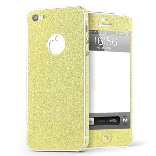 Luch iPhone 5 / 5S / SE Glitzerfolie Skin Diamond Shine Sticker Klebefolie Schutzfolie für die Vorder- und Rückseite, Gold - Skin 5 Gold Sticker Iphone