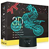 Motorrad 3D Lampe,Besrina LED Nachtlicht Illusion Lampen 7 Farben ändern Berührungssteuerung USB...