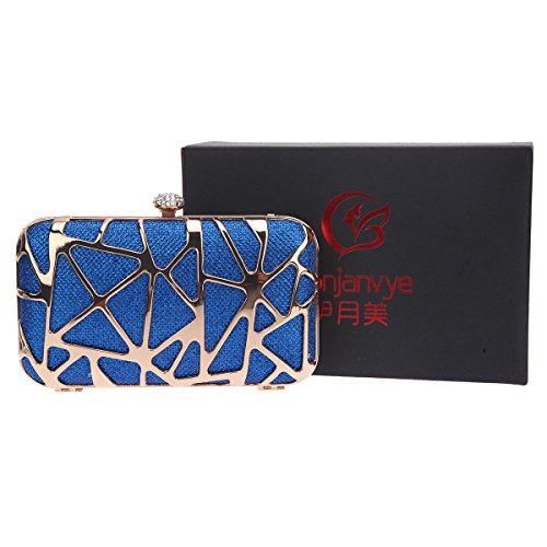 Bonjanvye Special Water Cube Box Evening Clutches Purses for Girls Purple Blue