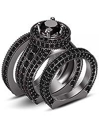 Silvernshine 4ct Diamond 14k Black Gold Fn 925 Silver Ladies Engagement Wedding Ring Trio Set