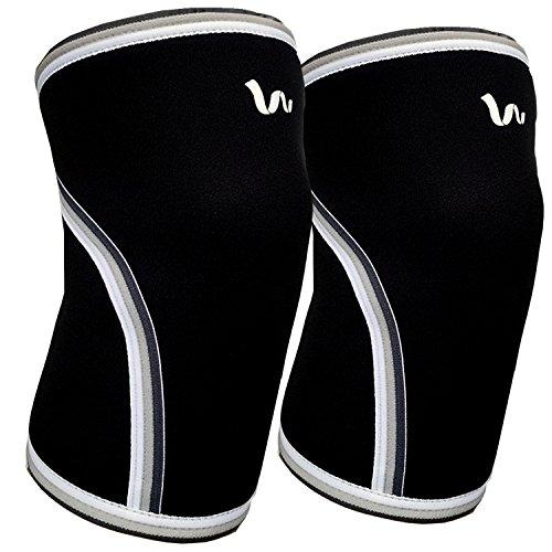Ginocchiere (1paio) Supporto e compressione per tutti gli sport-sollevamento pesi, powerlifting, crossfit, Jiu jitsu-7mm in neoprene-adatto a uomini e donne, nero-grande