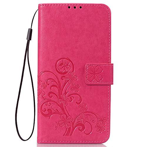 LAGUI Compatible para Funda Xiaomi Redmi Go, Relieve Dibujo Carcasa de Tipo Libro, Rojo