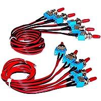 Enisina Interruptor de palanca con cable, SPST, On-Off, encendido y apagado, interruptor de palanca micro de 3A 250V AC / 6A 125V AC MTS-1, 10pcs (SPST)