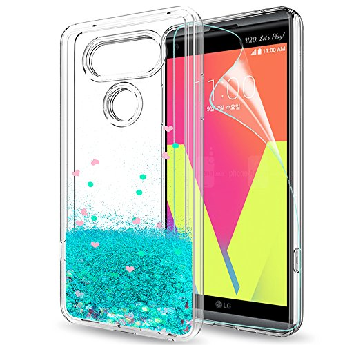 LeYi Hülle LG V20 Glitzer Handyhülle mit HD Folie Schutzfolie,Cover TPU Bumper Silikon Flüssigkeit Treibsand Clear Schutzhülle für Case LG V20 Handy Hüllen ZX Turquoise