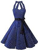 bridesmay 1950er Retro Rockabilly Neckholder Cocktail Abendkleid Petticoat Faltenrock Navy Small White Dot M