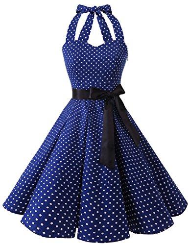 bridesmay 1950er Retro Rockabilly Neckholder Cocktail Abendkleid Petticoat -