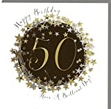 Wendy Jones-Blackett Glückwunschkarte zum runden 50. Geburtstag veredelt mit Kristallen und Glitter. Eine sehr hochwertige und originelle Geburtstagskarte, auch für Geschenkgutschein oder Geldgeschenk. WP094
