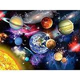 Riou DIY 5D Diamant Painting voll,Stickerei Malerei Diamant Universum Planet Raum Bild Muster Crystal Strass Stickerei Bilder Kunst Handwerk für Home Wall Decor gemälde Kreuzstich (Mehrfarbig, 30*40CM)