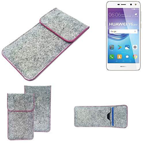 K-S-Trade® Filz Schutz Hülle Für -Huawei Y6 2017 Single SIM- Schutzhülle Filztasche Pouch Tasche Case Sleeve Handyhülle Filzhülle Hellgrau Pinker Rand