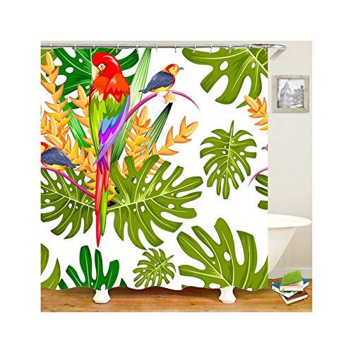 SonMo Duschvorhang Wasserdicht Anti Bakteriell Anti-Schimmel Bad Vorhang für Badewanne Badezimmer mit Duschvorhangringen Papagei Papagei 150X200CM