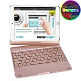 Durwyn Ipad 9.7 Backlight Keyboard Case, 7 Colors 360 Rotate for 2018-6Th Gen - 2017-5Th Pro Air 2 and 1 Back Hard Folio Swivel Cover with Wireless Bluetooth Auto Sleep, Wake - Rose Goid