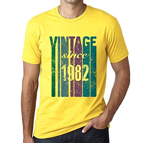 1982, Vintage Since 1982 Herren T-shirt Gelb Geburtstag Geschenk 00517 (Vintage 1982 T-shirt Herren)