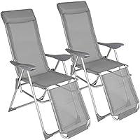 TecTake 2x Sillón de aluminio plegable de jardin | Respaldo y parte de los pies ajustable en 5 posiciones | (largo x ancho x alto): aprox. 146,5 x 59 x 117,5 cm