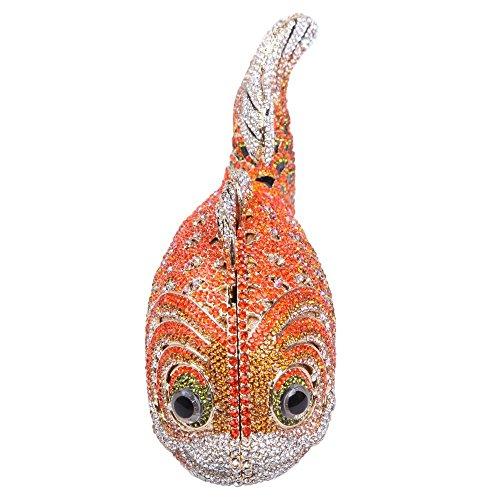 Damen Clutch Abendtasche Handtasche Geldbörse Glitzertasche Strass Kristall Fisch Tasche mit wechselbare Trageketten von Santimon(10 Kolorit) Gold