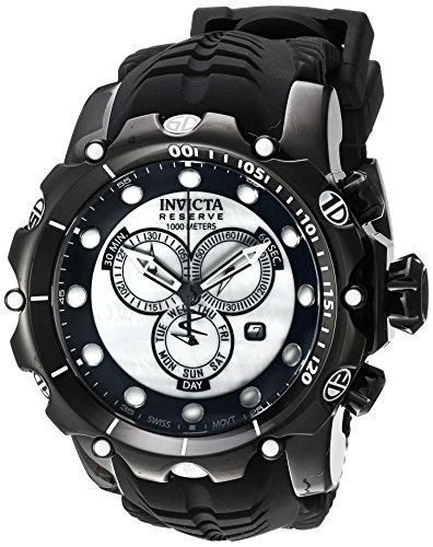 Invicta Venom Homme Bracelet Silicone Noir Boitier Acier Inoxydable Quartz Analogique Montre 20398