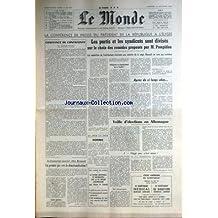 MONDE (LE) [No 7681] du 24/09/1969 - LA CONFERENCE DE PRESSE DU PRESIDENT DE LA REPUBLIQUE A L'ELYSEE - POMPIDOU - J. FAUVET - VEILLE D'ELECTIONS EN ALLEMAGNE - CHEZ RENAULT.