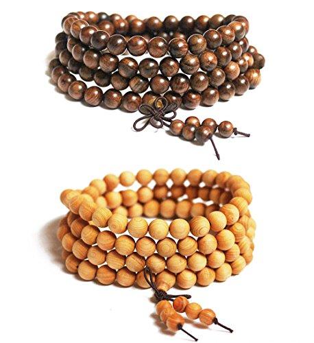 BoomYou Mens Frauen Natürliche Holzperlen Halskette Kettenarmband Meditationslink Handgelenk Mala elastisch 8mm 108 Buddhistische Gebetskette - Schwarzes Rosenholz & - Gebet Perlen Halskette Buddhismus