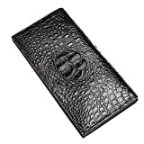 Herren Geldbörse, P.KU.VDSL® bi-fold lange Portemonnaie Geldbeutel Vintage Retro Leder Börse Brieftasche (D - Dark Brown)