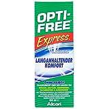 Opti Free Express - Kontaklinsenflüssigkeit für alle weichen Kontaktlinsen / Alcon Opti-Free all in one Kombilösung für Monatslinsen und Tageslinsen zur täglichen Reinigung - auch Silikon Hydrogel und farbige Linsen / in Reisegröße (355 ml)