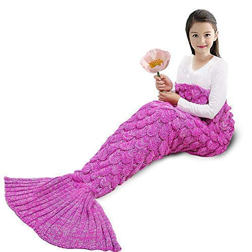 YOWAO Meerjungfrau Decke, Fisch Skala Muster alle Jahreszeiten Schlafsack (Rosa -1, Kinder)