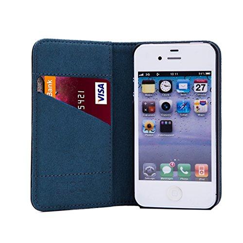 32nd Portafoglio Disegno Classic Custodia Premium Pelle per Apple iPhone 4 4S, Flip Case con Chiusura Magnetica e Funzione Stand - Blu navy Portafoglio Classico - Verde cacciatore