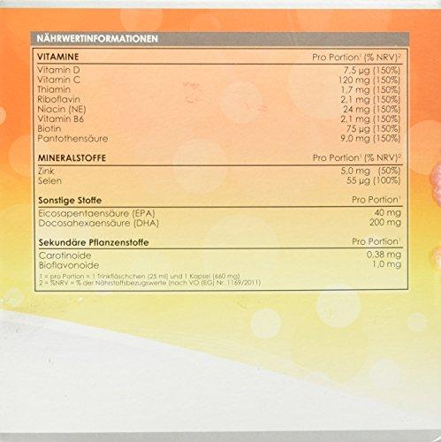 LINEAVI Immun, mit Vitaminen, Mineralstoffen und Omega-3-Fettsäuren, unterstützt das Immunsystem und den Energiestoffwechsel, in Deutschland hergestellt, freiverkäuflich, 30 Trinkflaschen/Kapseln