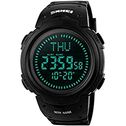 Men's Digital Watch Sports Military Watches for Men 50M Waterproof with Choronograph Stopwatch Compass Alarm LED Light Black by FunkyTop