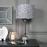 Melody Maison Silver Nickel Diamante Table Lamp
