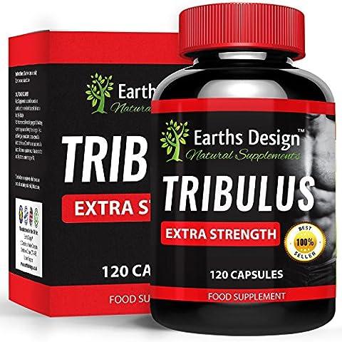 Earths Design Tribulus terrestris puro búlgaro. Fomenta la producción natural de testosterona, 95% saponina, 80% protodioscina. La concentración más alta en Amazon, 1320mg - 120 cápsulas