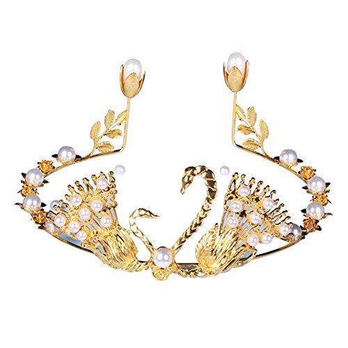 PU Ran élégant Swan fausses perles Couronne DIY de Décoration pour gâteau de mariage Décoration de fête de mariage