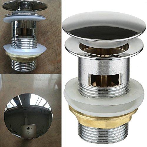 UxradG Chrom Clicker Clack Feder Stöpsel Waschbecken Pop Up Ablaufgarnitur Schlitz mit Überlauf Schlitz Waschbecken Wasserhahn